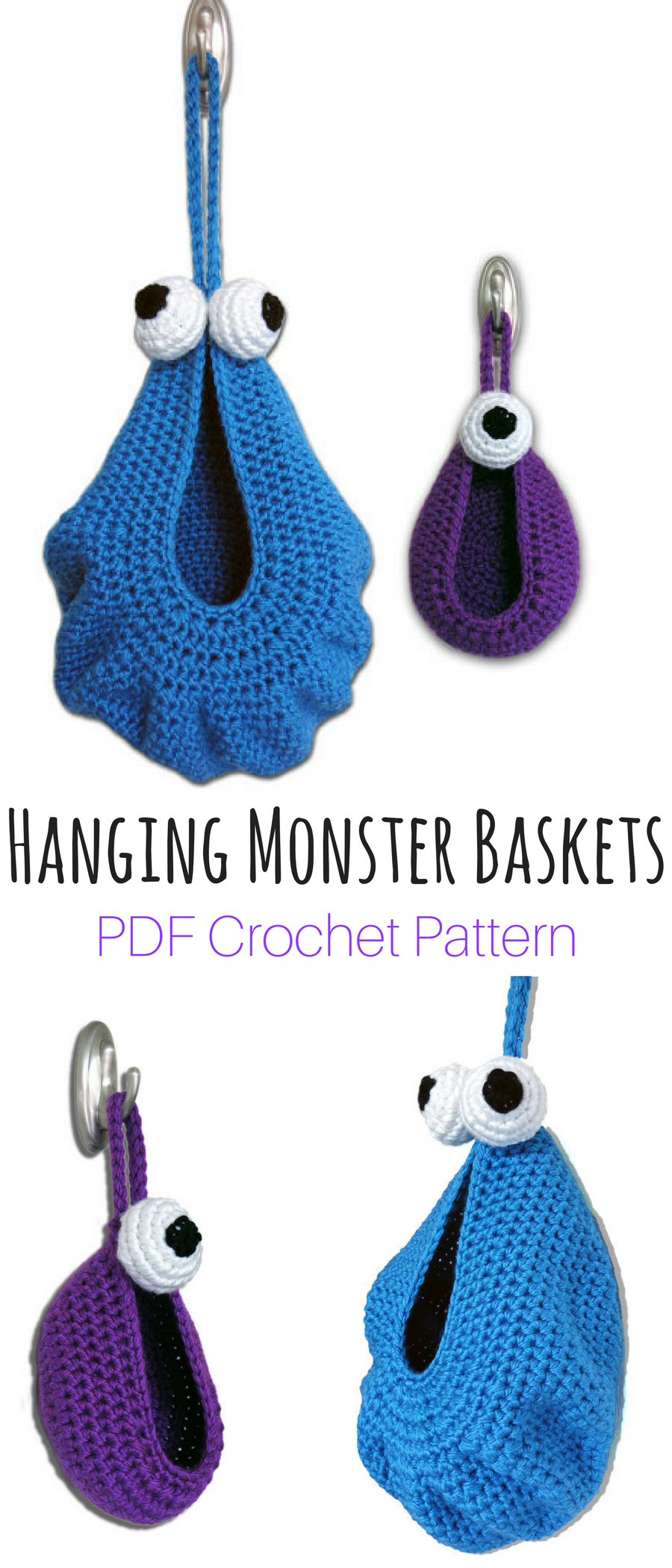 Hanging Monster Baskets Crochet Pattern. Awesome DIY crochet project ...
