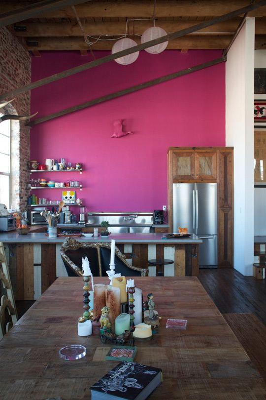 Antonio Ballatore\'s Hot Pink Kitchen Wall | Pink walls, Hot pink and ...