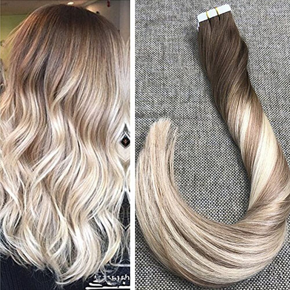 Ugeat 18 Seamless Skin Weft Tape In Hair Extensions Ombre Color