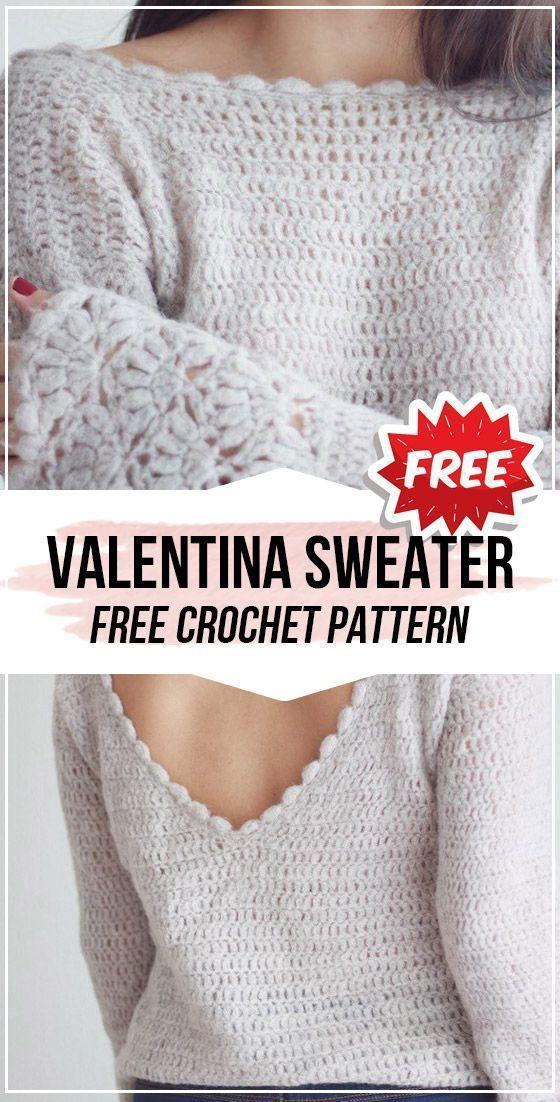 Photo of crochet Valentina Top Sweater free pattern