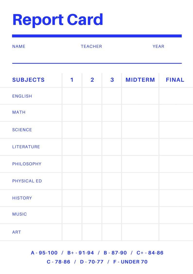 Fake College Report Card Template School Report Card Report Card Template Kindergarten Report Cards