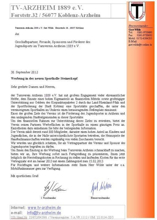 Die Brief Vorlage Dieses Sponsoren Anschreibens Sieht Ordentlich Aus