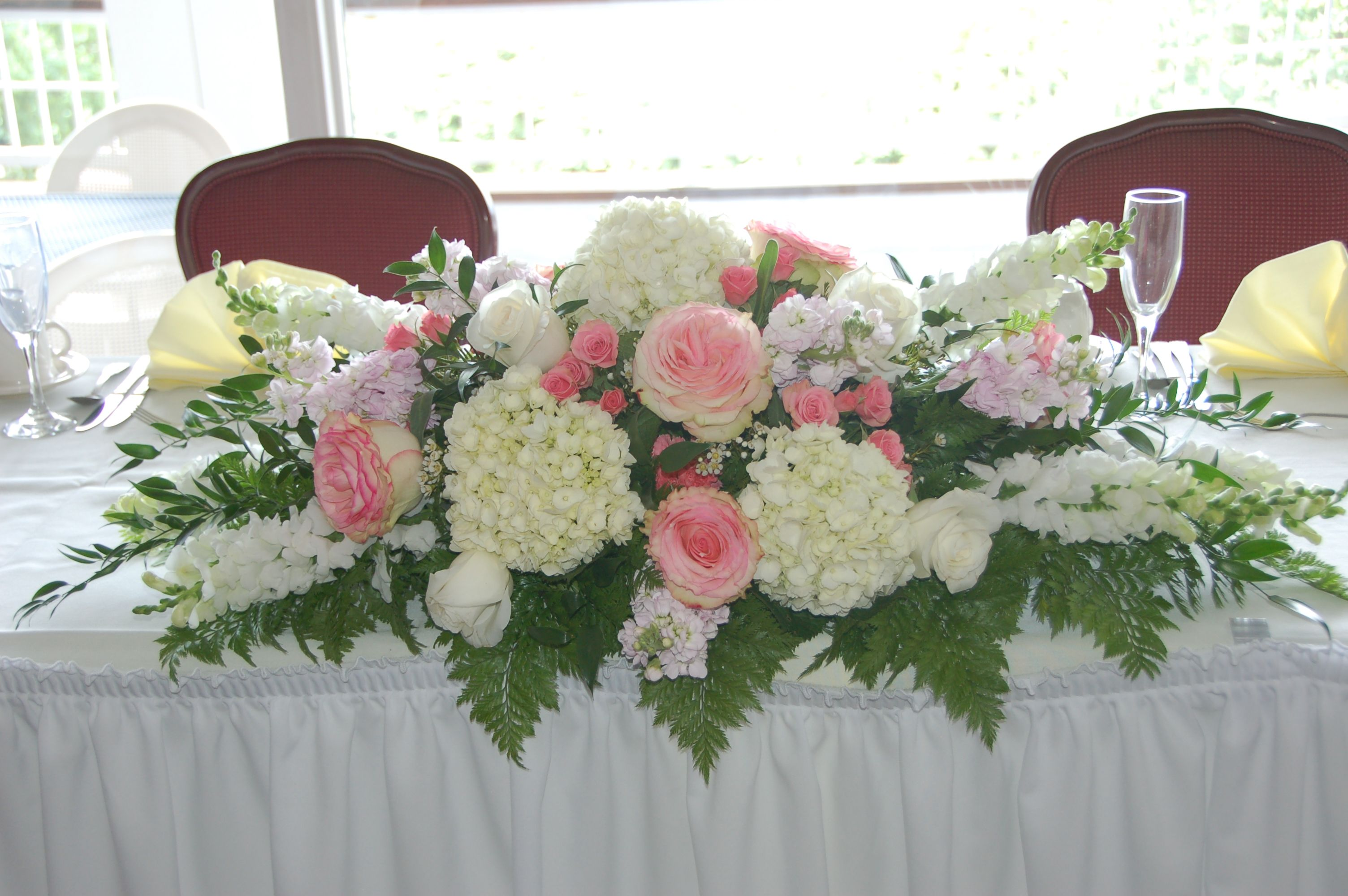 floral arrangement head table wedding hydrangea Google