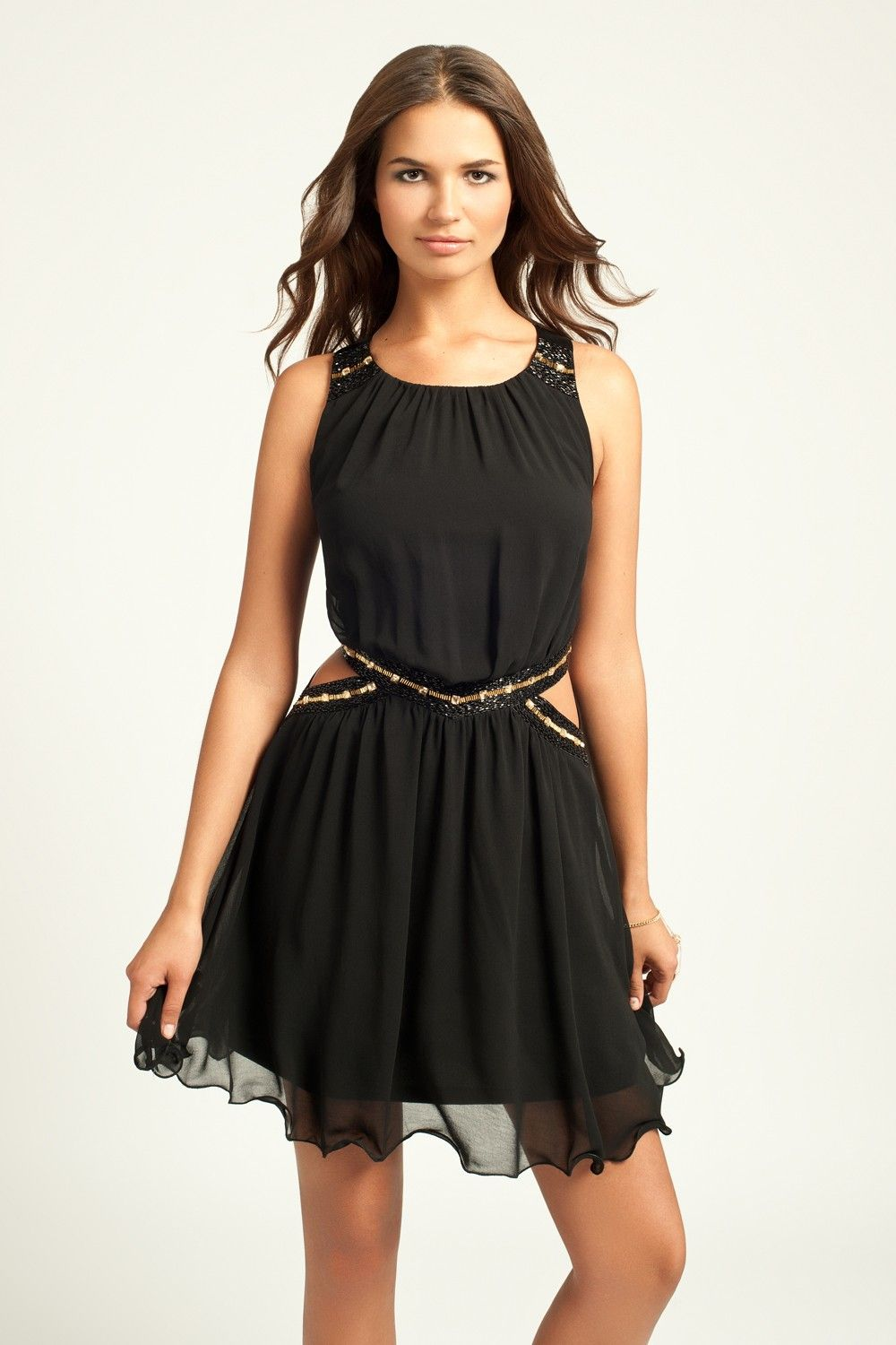 Black cutout detail with crossover back dress littlemistress