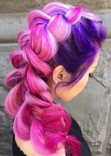 Purple pink oversized braided dyed hair color @heatherchapmanhair