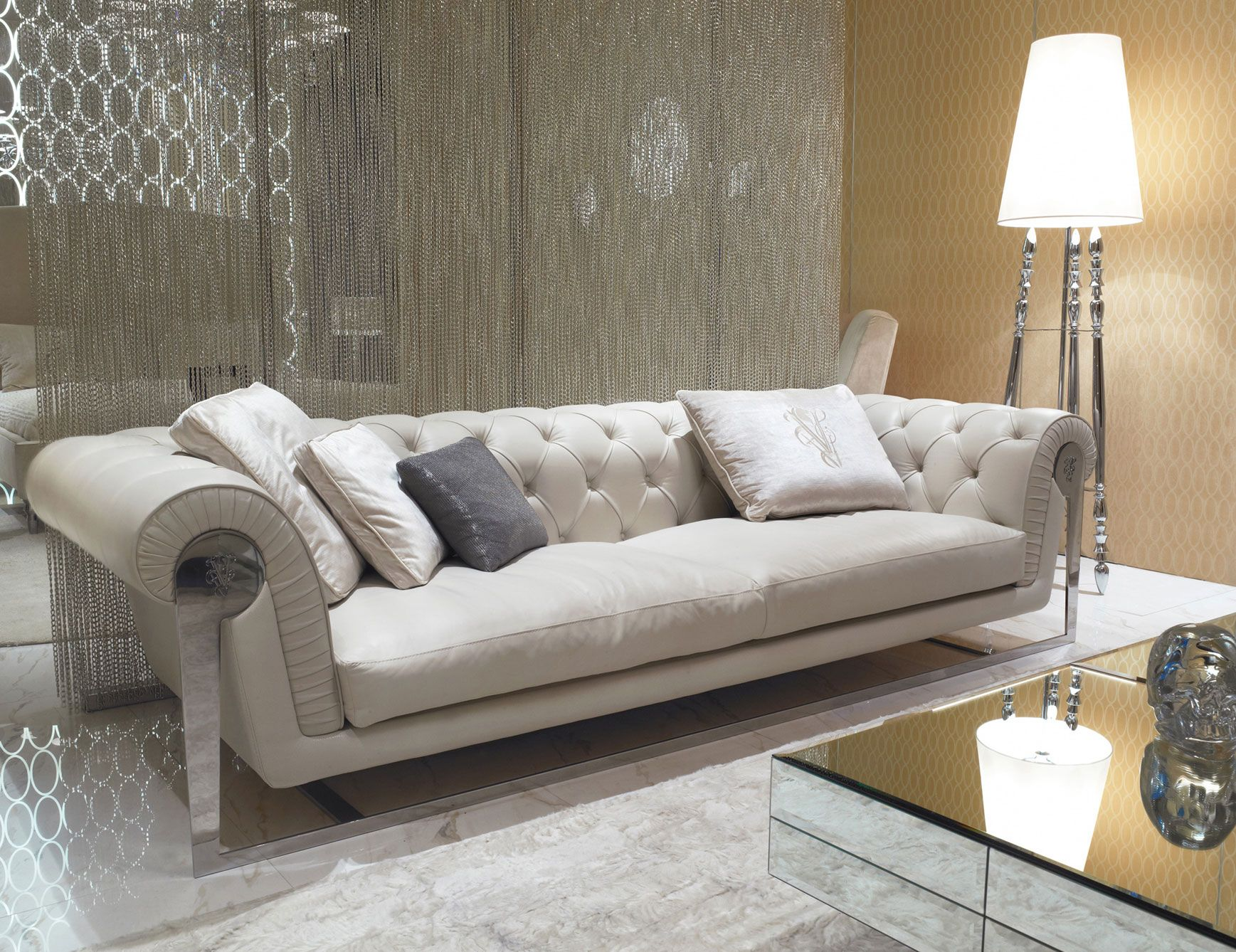 Chester Dudley Luxury Italian Sofa Upholstered In White Fabric With A Capitonne Embroidered Bac Luxury Furniture Sofa Luxury Furniture Stores Upscale Furniture