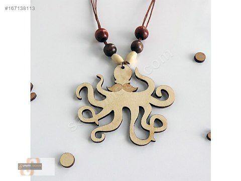 AHŞAP BAYAN KOLYE BIYIKLI AHTAPOT - Bijuteri Kolye modelleri ve Bayan takı mücevher çeşitleri sahibinden.com'da