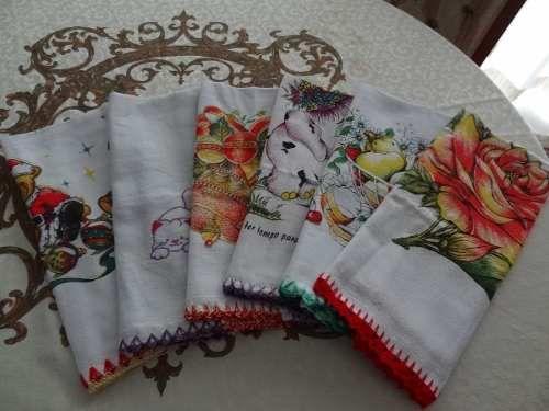 Conjunto De Panos De Prato Com Crochê Barrado Simples -6 Pçs