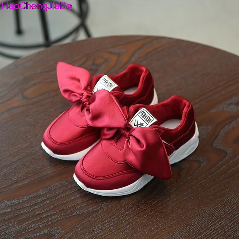 Baby Sneakers enfant filles Bow Casual simple cuir Pricness chaussures l07TRLibI