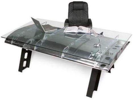 recycled home furniture set by MotoArt. Desk made from an airplane wing.