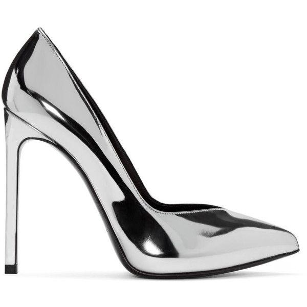 75098e4990987 Saint Laurent Silver Paris Skinny Heels (1