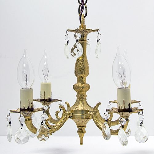 Vintage 4-Arm Petite Brass Chandelier with Crystal Prisms ...