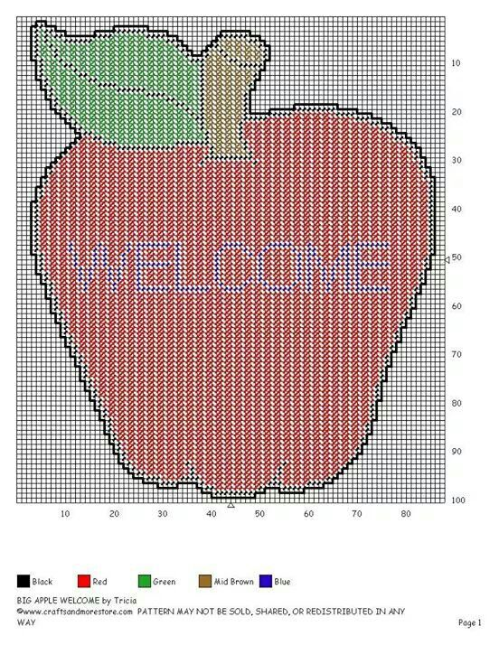 Big Apple wall hanging Plastic canvas patterns, Plastic
