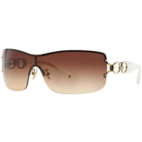 c86678c8ea9d3 Coach Women s HC7018 L048 Noelle 911813 Metal Square Sunglasses ( 146) ❤  liked on Polyvore featuring gold
