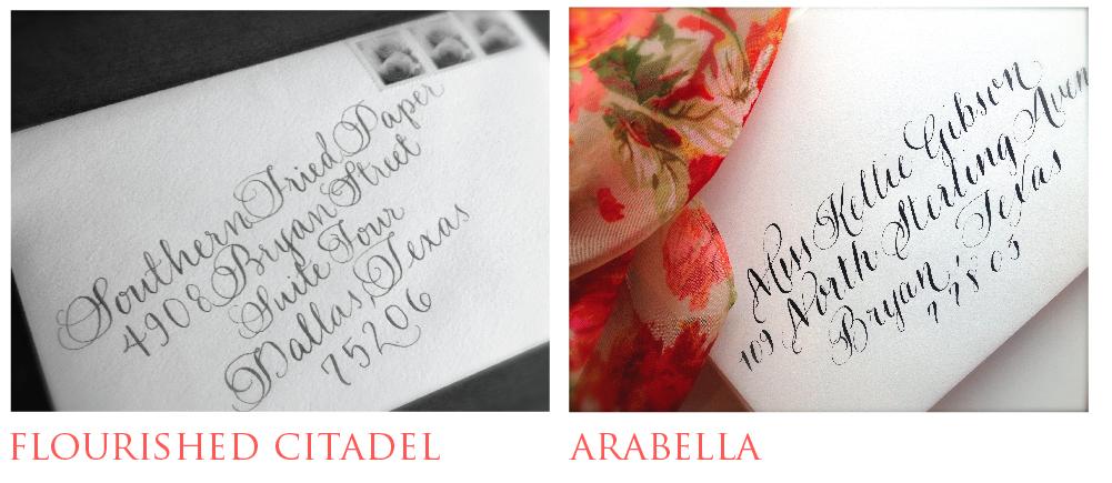 Stamp in arabella font Wedding calligrapher, Dallas
