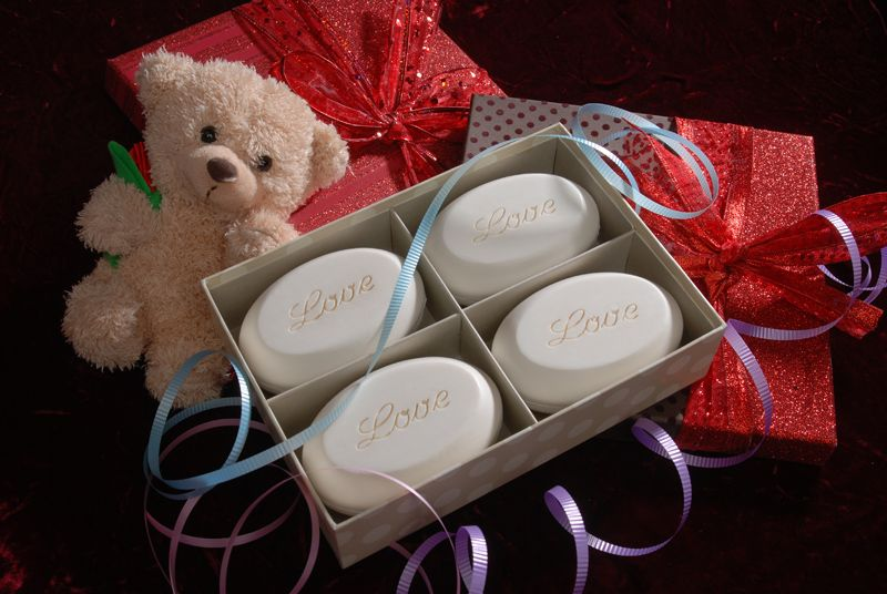 """A great gift for both of you - our 4 bar signature box of scented soaps engraved with """"Love"""" - Valentine's Day perfection"""
