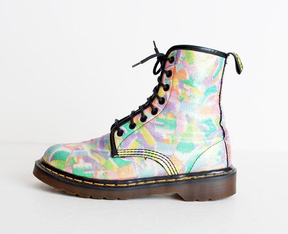 Size 7 Vintage Dr Martens Rainbow Glitter Canvas Lace Up Boots 37