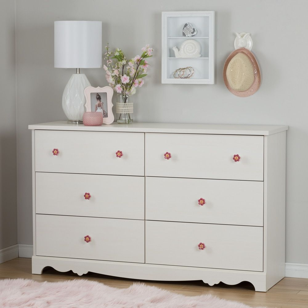 South Shore Lily Rose White Wash 6-drawer Double Dresser