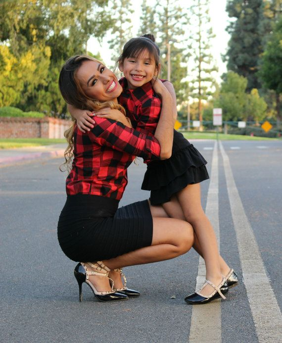 68f63389cd2e0 Red and black Plaid shirt Mommy and me outfits