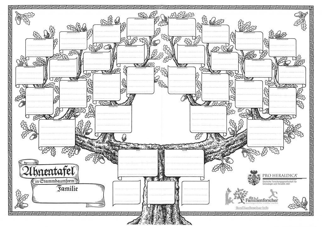 Vorlagen für Ahnentafel, Stammbaum, Ausmalbilder, Rätsel, Alte