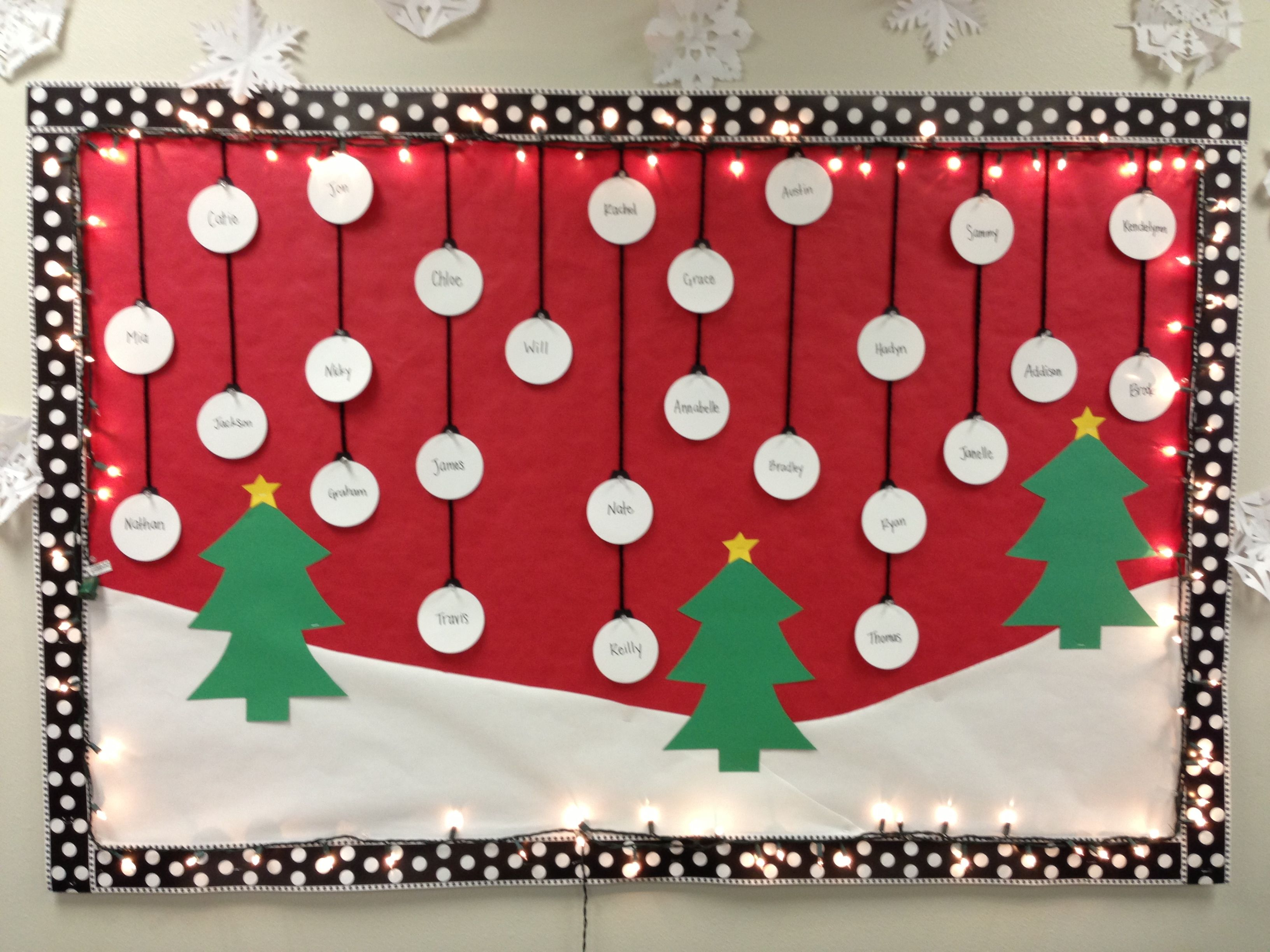 White Christmas Classroom Decorations : Christmas bulletin board w trees snow classroom decor