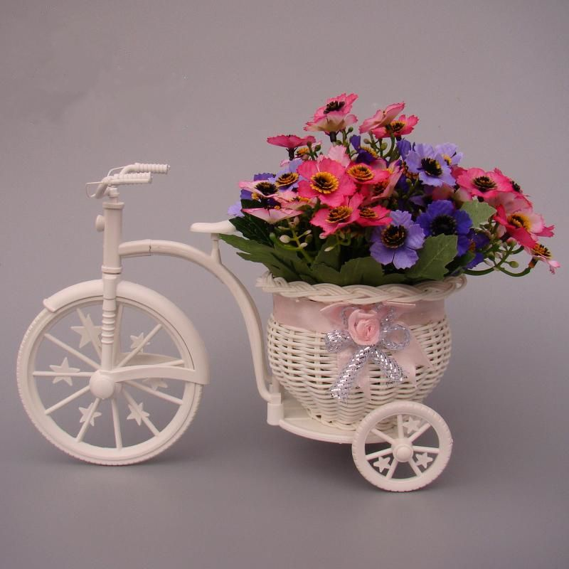 Zakka rat n triciclo bicicleta cesta de mimbre decorativo for Plantas decorativas artificiales bogota