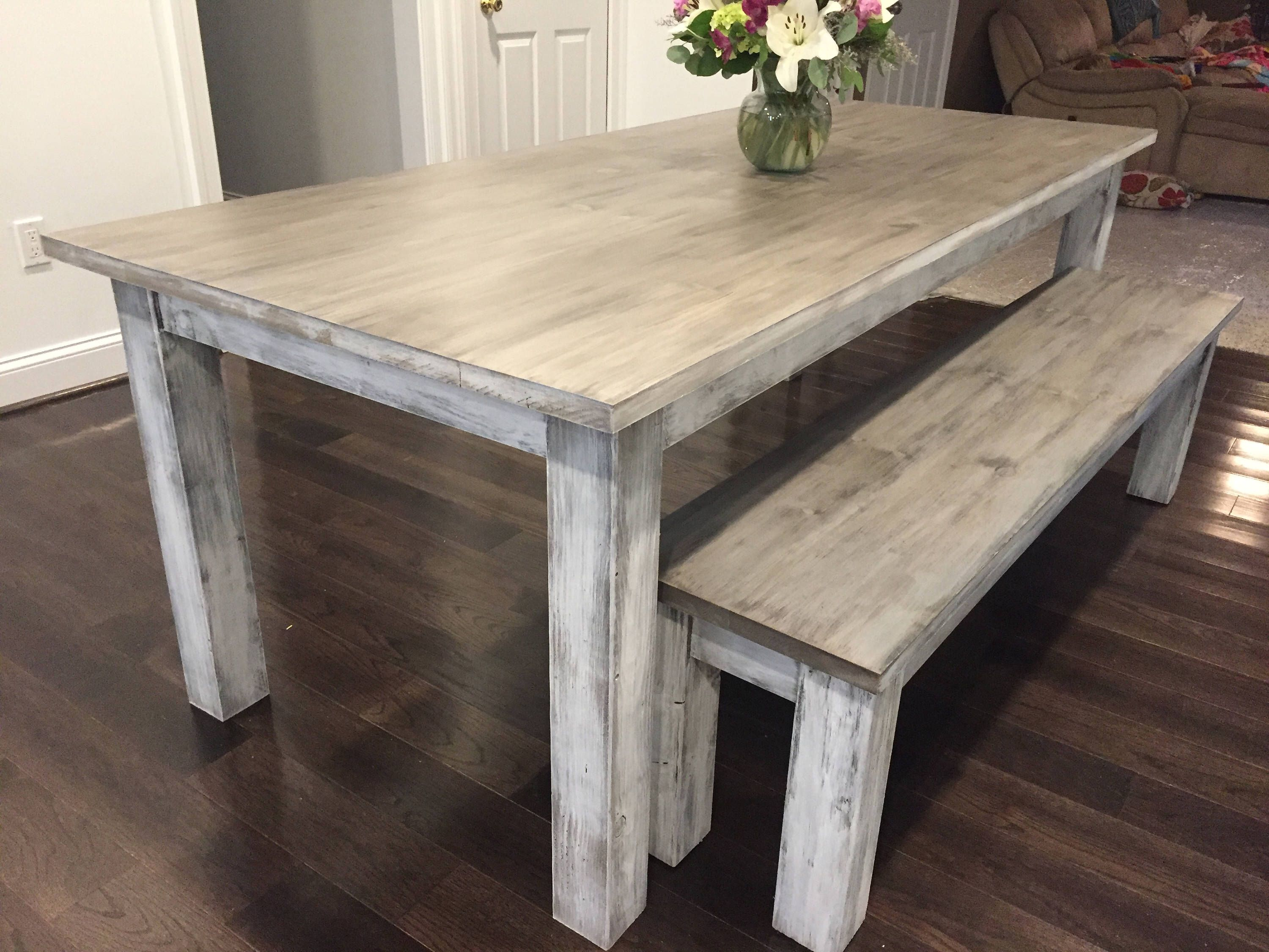 Custom Whitewashed Farm Table Up To 9 Length By