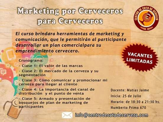 Marketing para cerveceros artesanales. Centro de Cata de Cerveza, Argentina