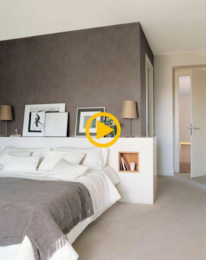 schlafzimmergestaltung doppelbett eingebautes fach