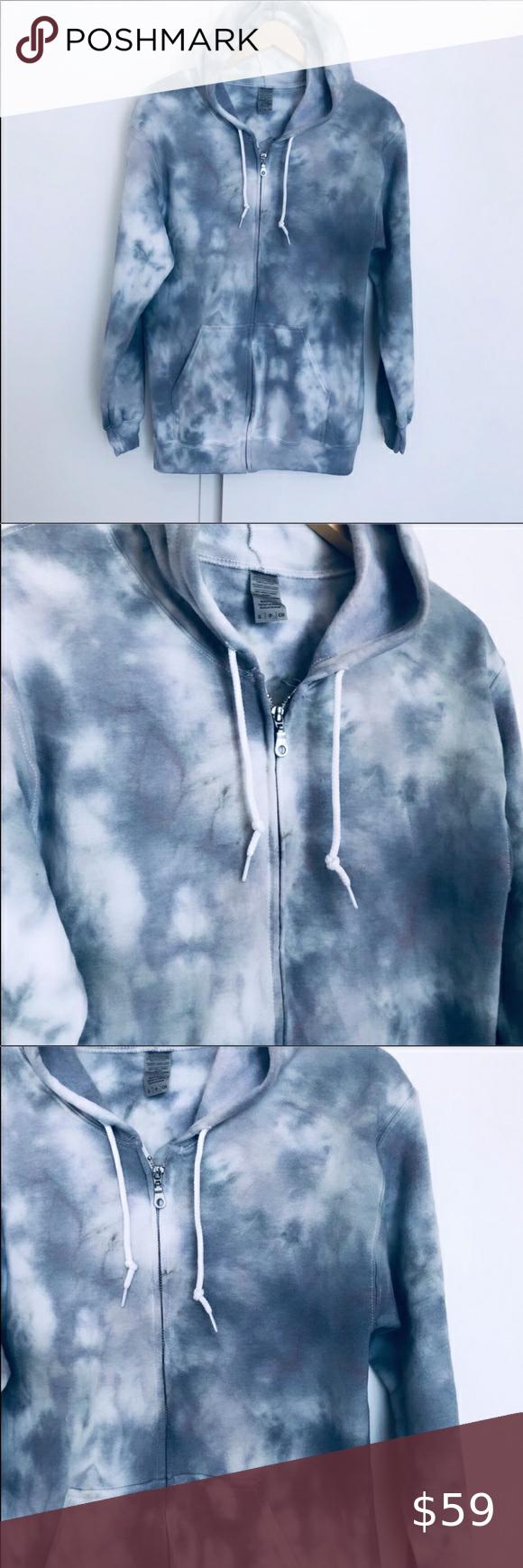 Tie Dye shades of Gray NEW zip Hoodie Size S Tie D