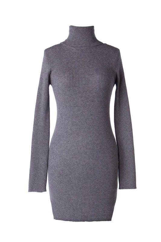 Long Sleeve Ribbed Turtleneck Bodycon Sweater Dress - Heather Gray ...