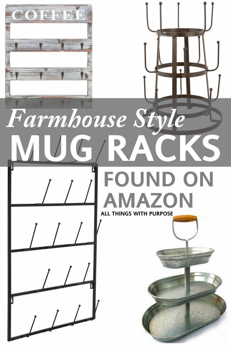 Farmhouse Style Mug Racks Farmhouse Mugs Coffee Bars In Kitchen Coffee Bar