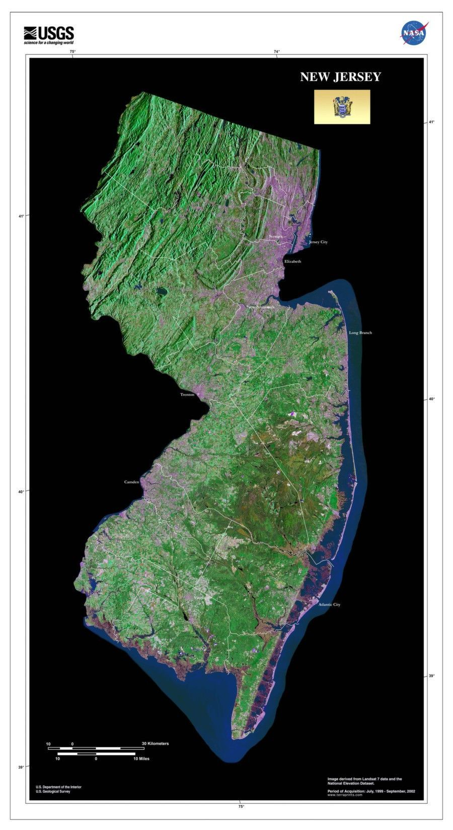 New Jersey Satellite Imagery State Map Poster City and Vacation