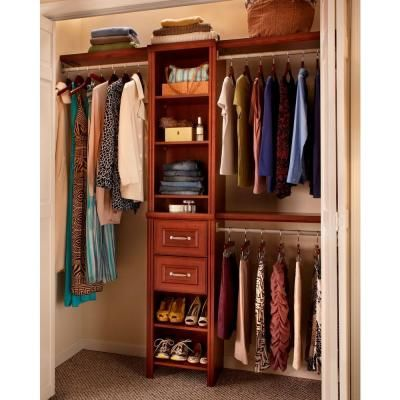 Closetmaid Impressions 13 In W X 9 In H Dark Cherry Wood Drawer Kit For 16 In W Impressions Tower 30600 The Home Depot Wood Closet Systems Home Depot Closet Closet System