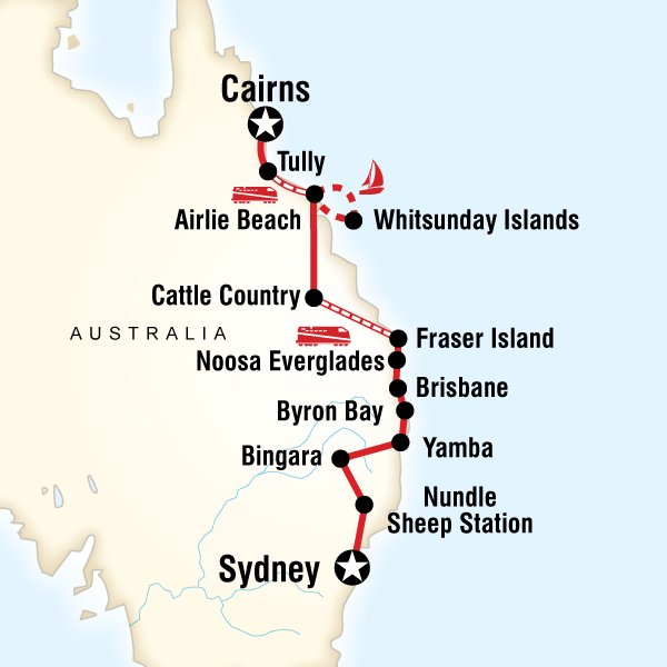 Most Of The Coast Sydney To Cairns In Australia East