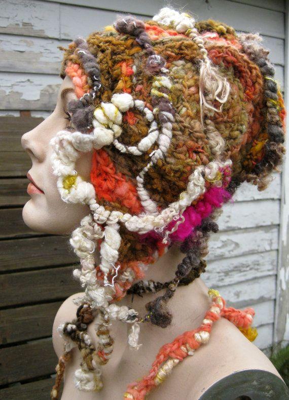 Daphnia freeform crochet hat OOAK by girlwithahook on Etsy, $175.00 ...