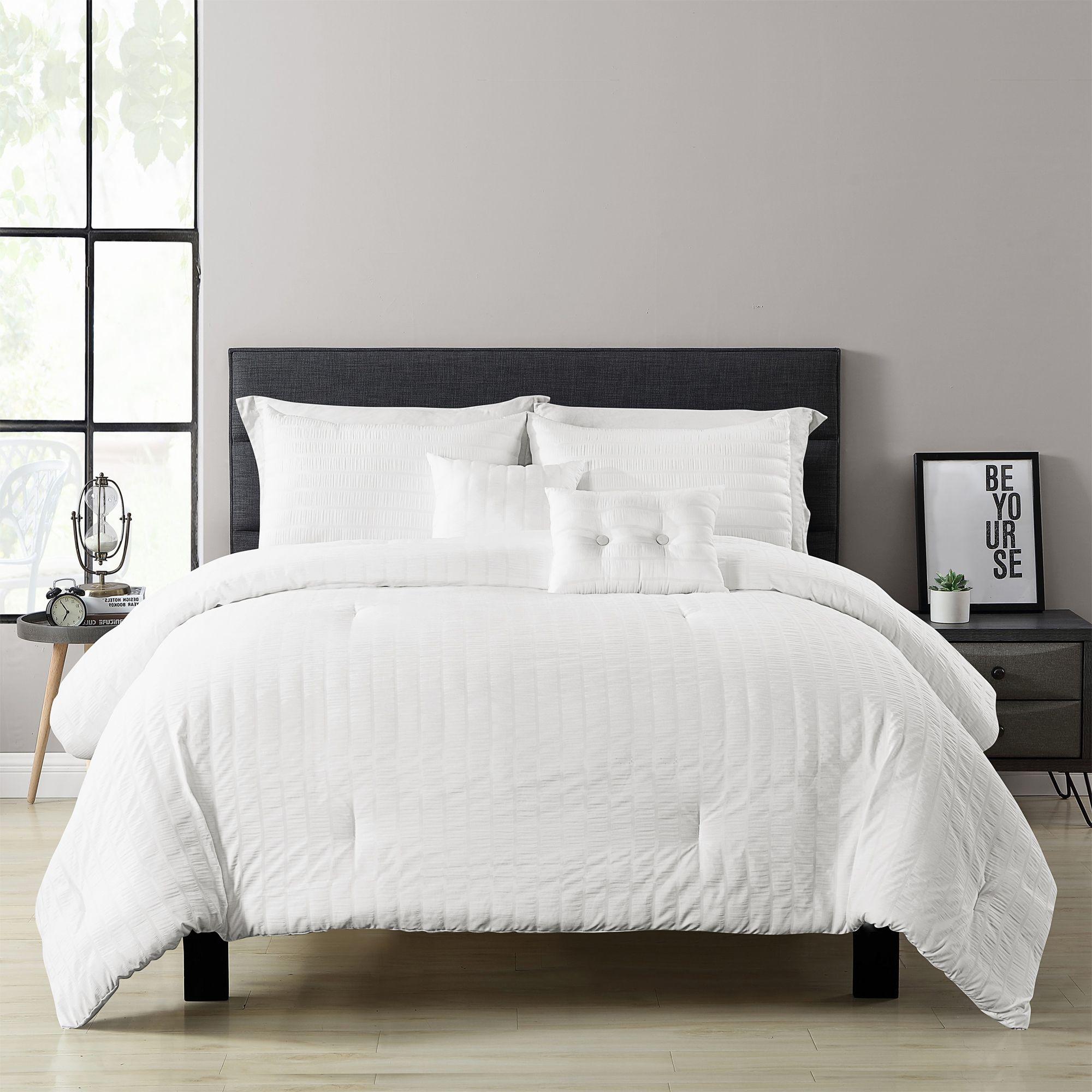 Farmhouse seersucker 5 piece comforter set comforter