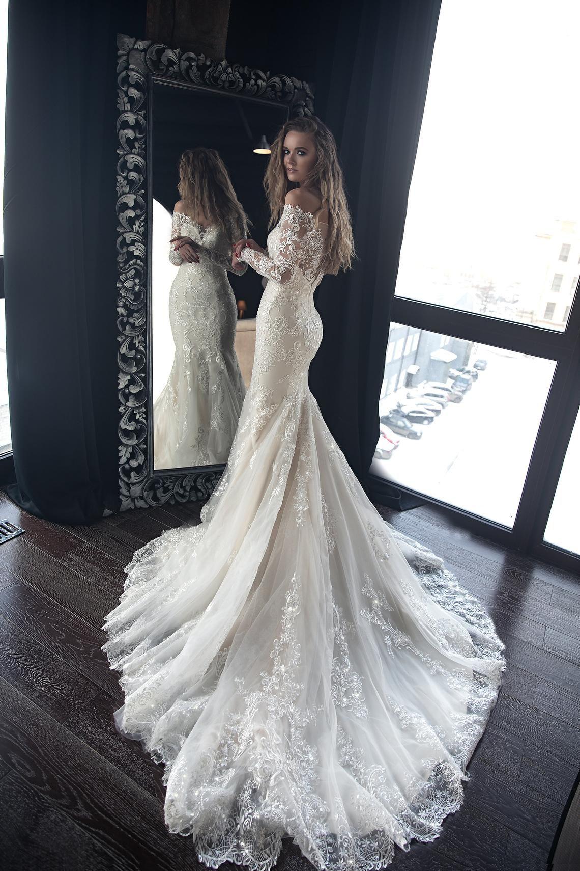OB7962M Off the Shoulder Mermaid Wedding Dress | M