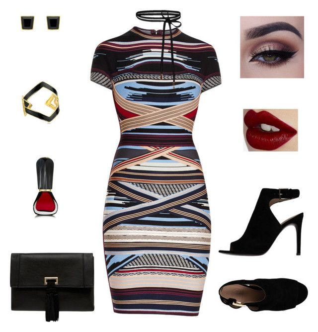 """""""going out"""" by claracluck on Polyvore featuring Hervé Léger, Tory Burch, Kenneth Jay Lane, Charlotte Tilbury, Oribe and Monet"""