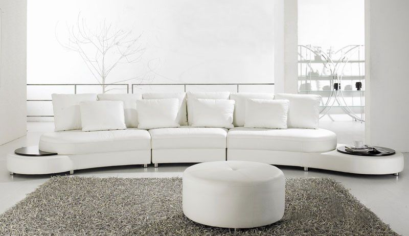 Tosh Furniture Modern Leather Sectional Sofa With Ottoman