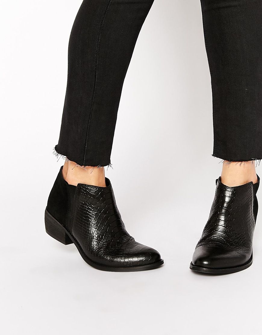 Image 1 of Dune Penelope Croc Effect Leather Flat Ankle Boots ...