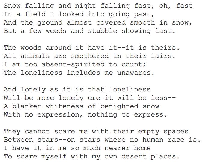 desert places poem analysis