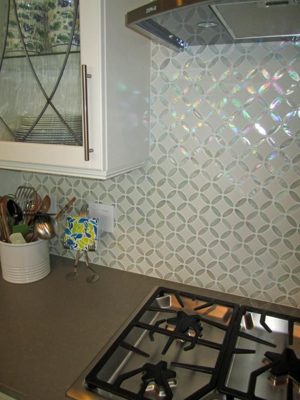 See This Beautiful Iridescent Glass Tile Backsplash On Hgtv Com