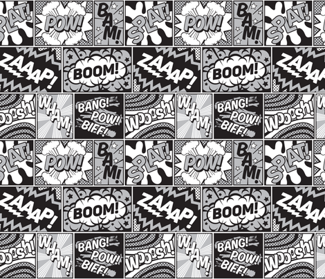 Modern Comic Book Superhero Grey Black White Fabric By Season Of Victory On Spoonflower