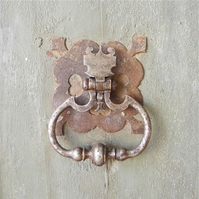 The Right Door Of These Reclaimed 17th Century French Doors Features A  Grande Antique Doorknocker,