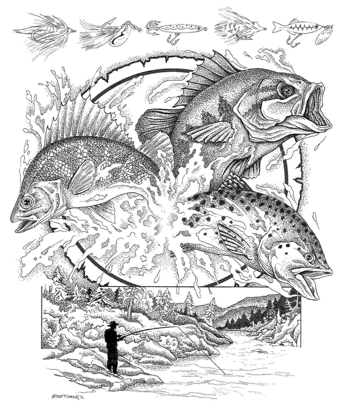 Coloring pages of rainbow trouts