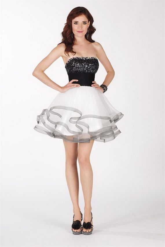 Images of Black And White Prom Dress - Reikian