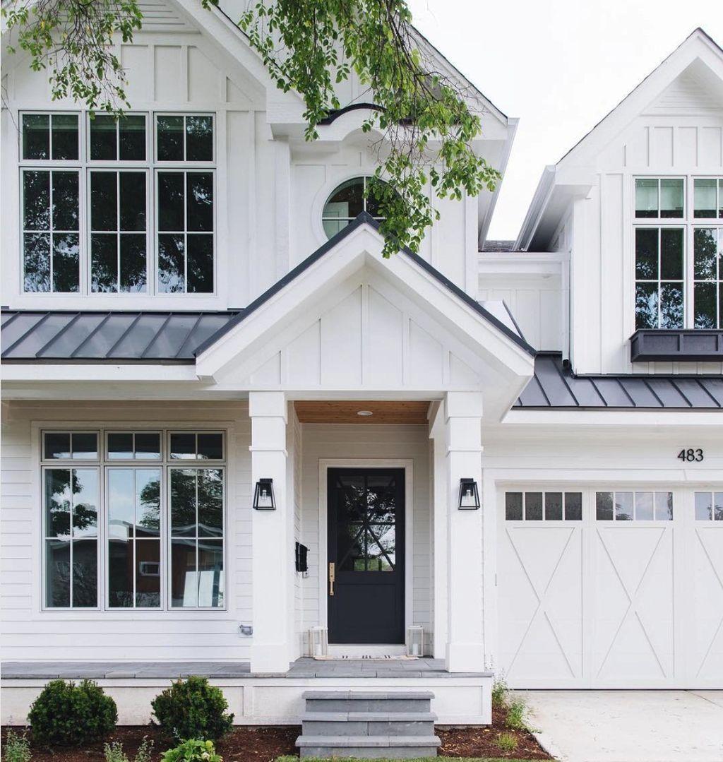 Modern Gray Exterior With Steel Beams: 45 Best Modern Farmhouse Exterior Design Ideas