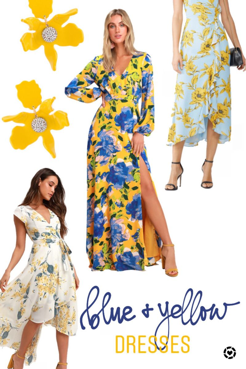 Summer Style Blue Yellow Dresses Blue And Yellow Dress Yellow Floral Dress Dresses [ 1200 x 800 Pixel ]