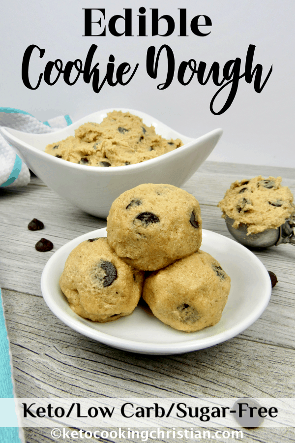 Edible Cookie Dough - Keto, Low Carb & Sugar-Free All the flavors of chocolate chip cookies, made into an edible dough that is safe to indulge in and egg free!  #ketorecipes #keto #lowcarb #ketodesserts #ketocookiedough #sugarfreecookiedough #ketogenic #lowcarbcookiedough #ketocookingchristian #healthycookiedough